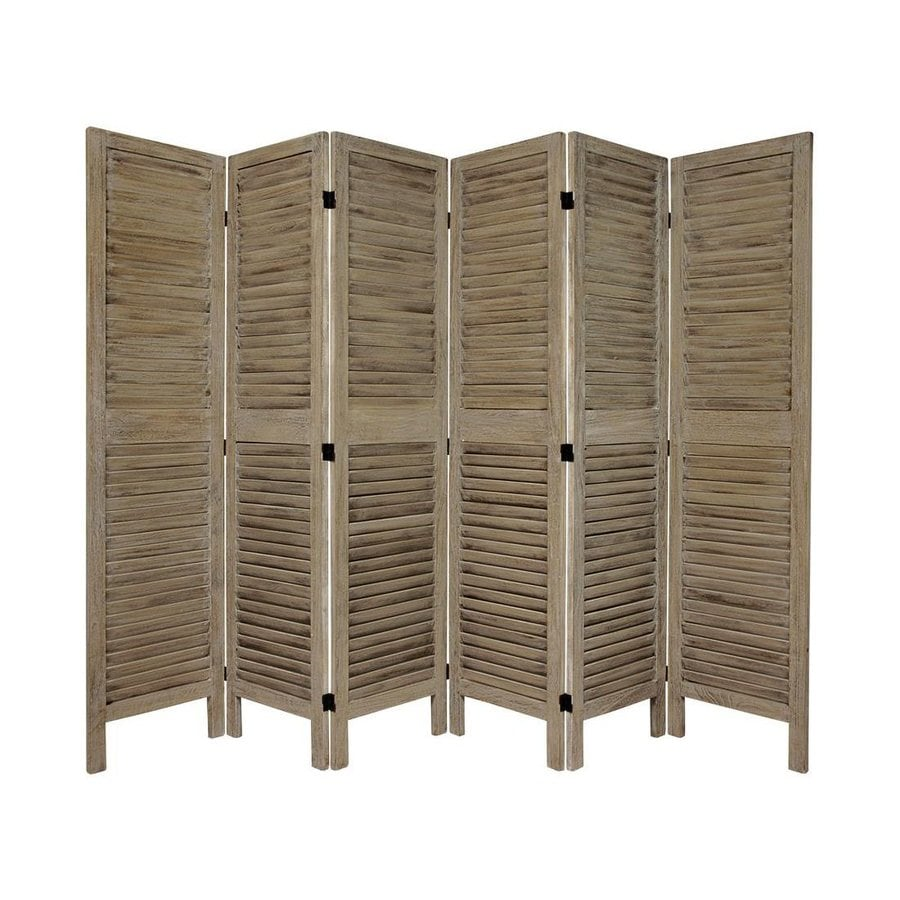 Oriental Furniture Classic Venetian 6-Panel Burnt Gray Wood Folding Indoor Privacy Screen