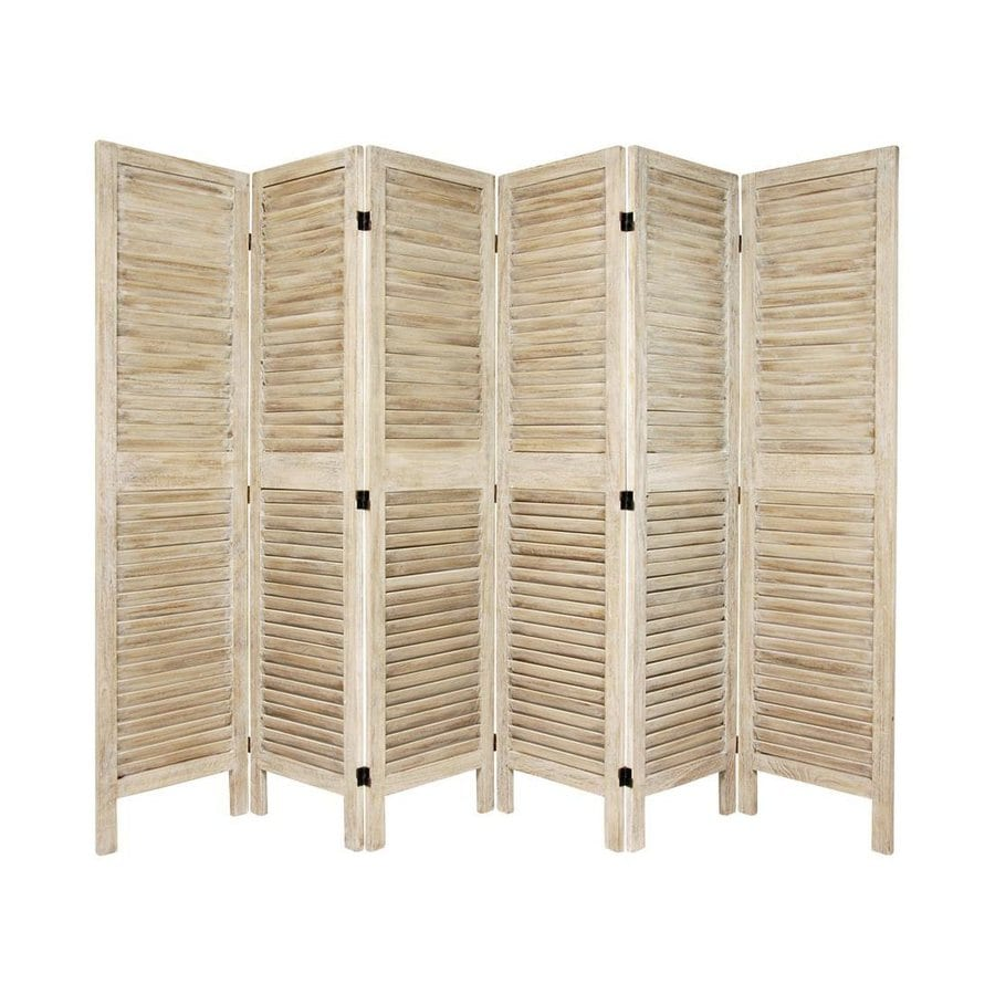 Oriental Furniture Classic Venetian 6-Panel Burnt White Wood Folding Indoor Privacy Screen