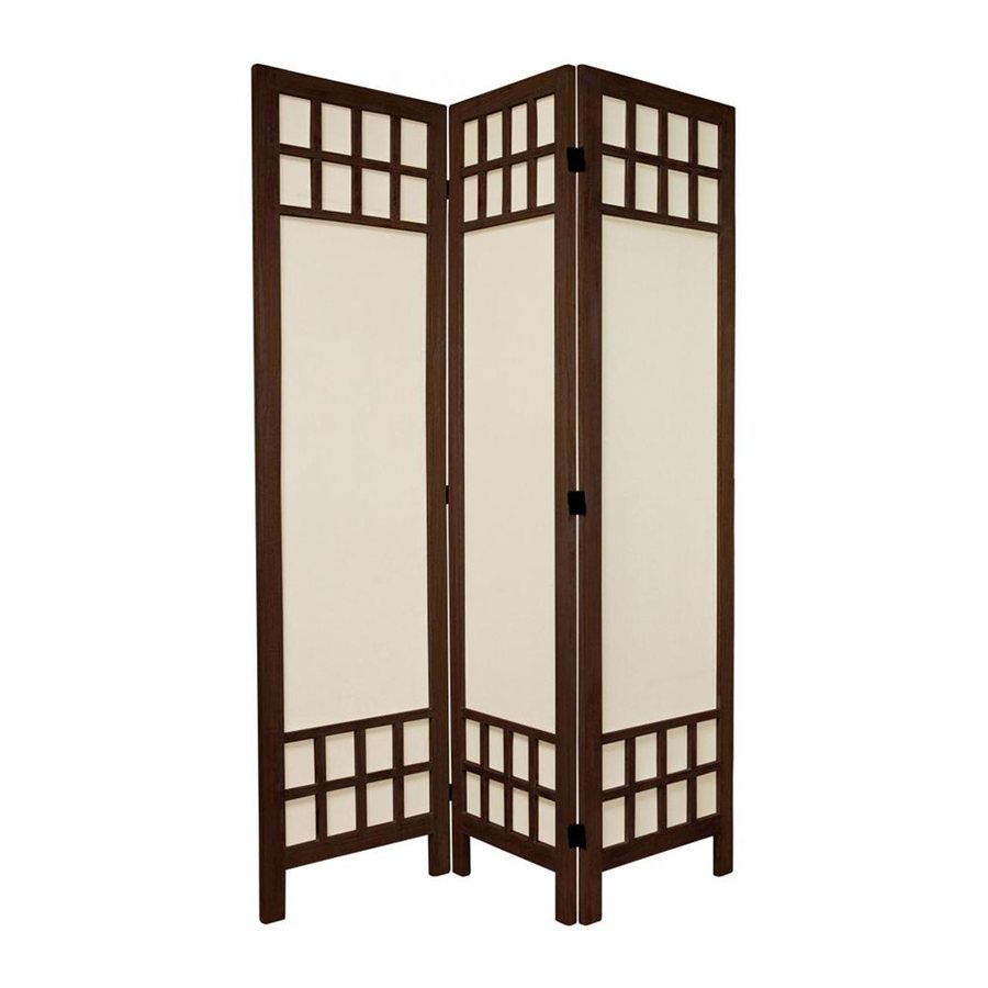 Oriental Furniture Window Pane 3-Panel Burnt Brown Fabric Folding Indoor Privacy Screen