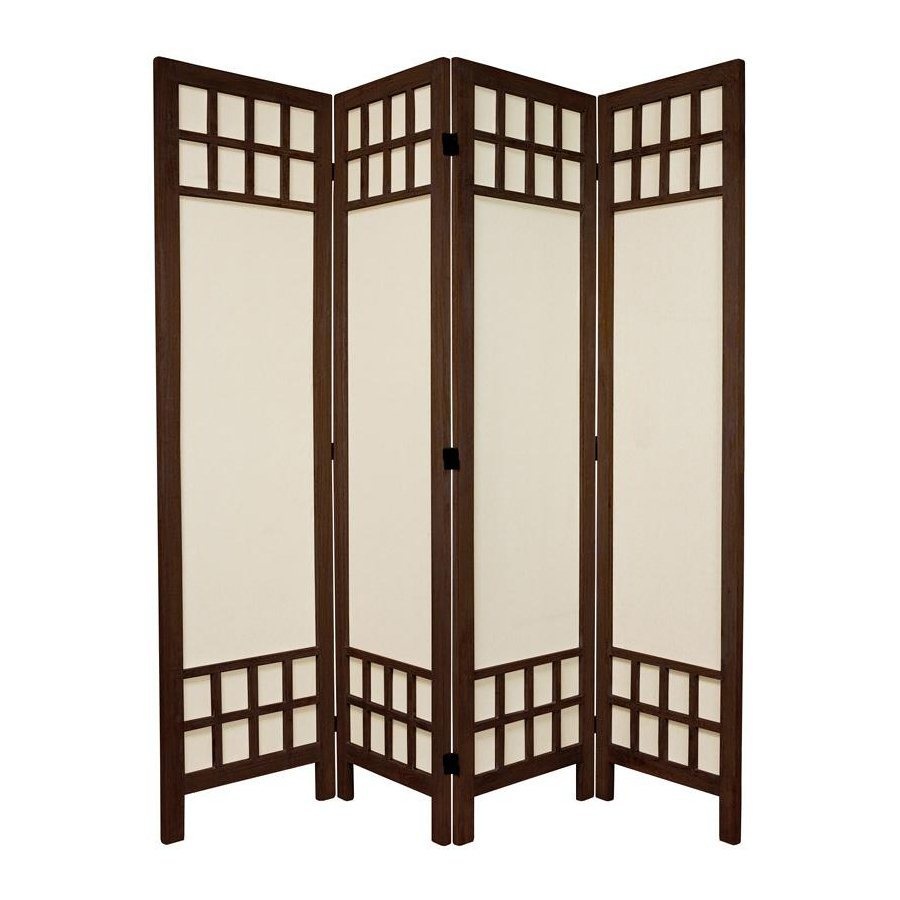 Oriental Furniture Window Pane 4-Panel Burnt Brown Wood and Fabric Folding Indoor Privacy Screen