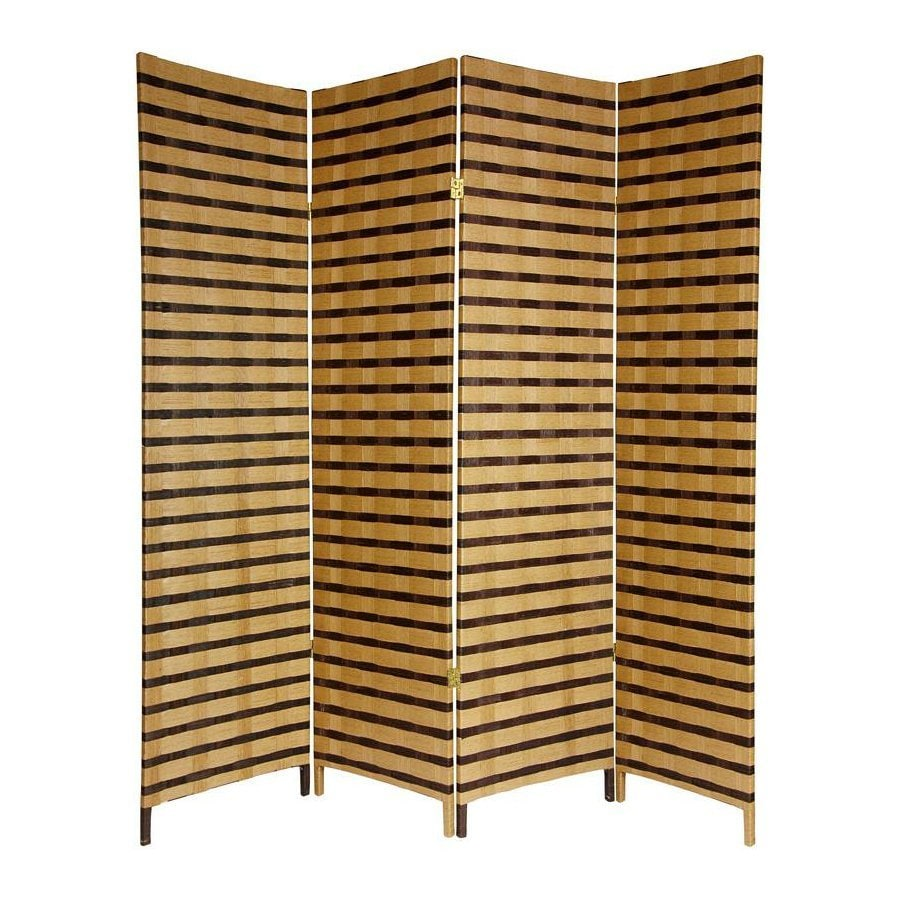 Oriental Furniture Two Tone 4-Panel Natural Woven Fiber Folding Indoor Privacy Screen