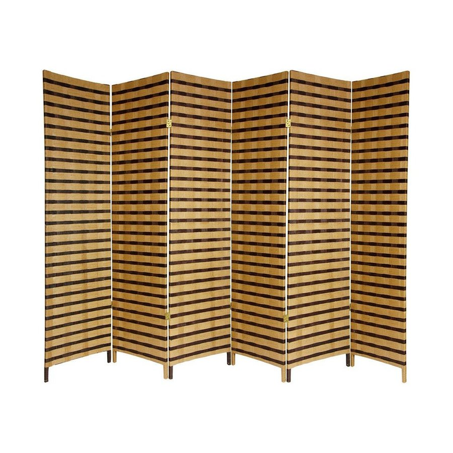 Oriental Furniture Two Tone 6-Panel Natural Woven Fiber Folding Indoor Privacy Screen