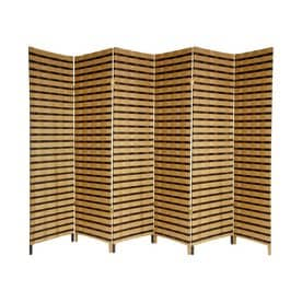 Oriental Furniture Two Tone 6 Panel Natural Woven Fiber Folding Indoor  Privacy Screen