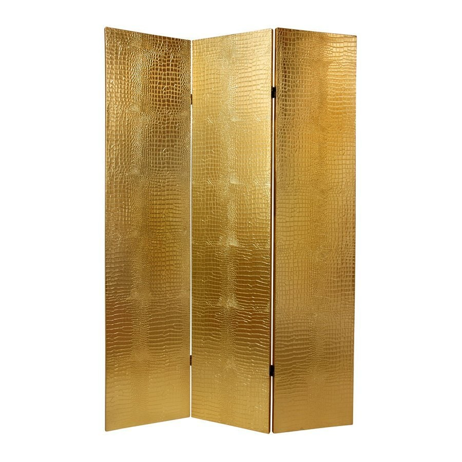 Oriental Furniture Crocodile 3-Panel Gold Wood and Fabric Folding Indoor Privacy Screen