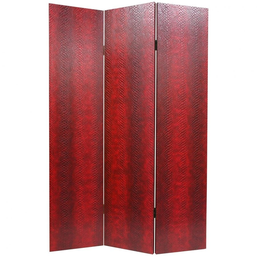 Oriental Furniture Snakeskin 3-Panel Red Faux Leather Folding Indoor Privacy Screen