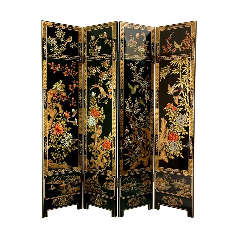 Oriental Furniture Lacquer 4-Panel Black Wood Folding Indoor Privacy Screen