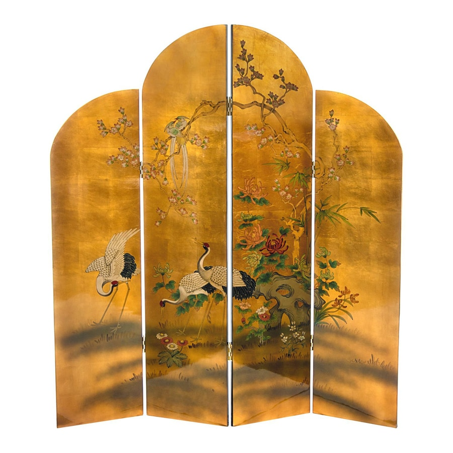 Oriental Furniture Cranes 4-Panel Gold Wood Folding Indoor Privacy Screen