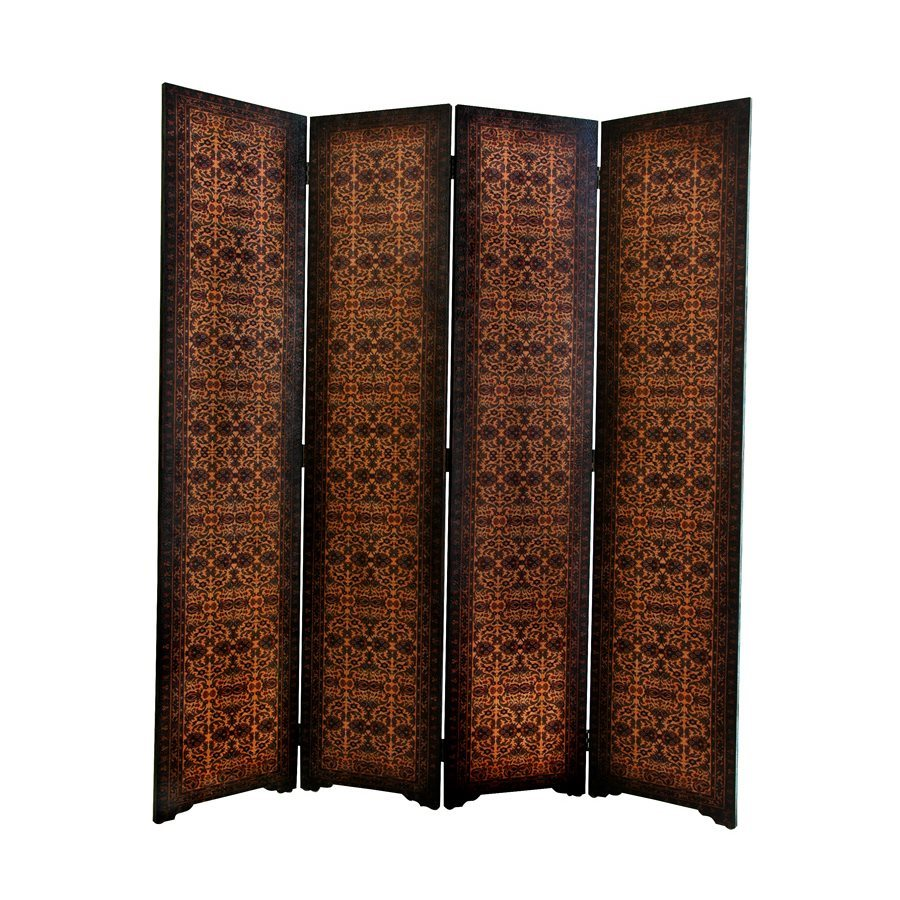 Oriental Furniture Olde-Worlde 4-Panel Brown Faux Leather Folding Indoor Privacy Screen