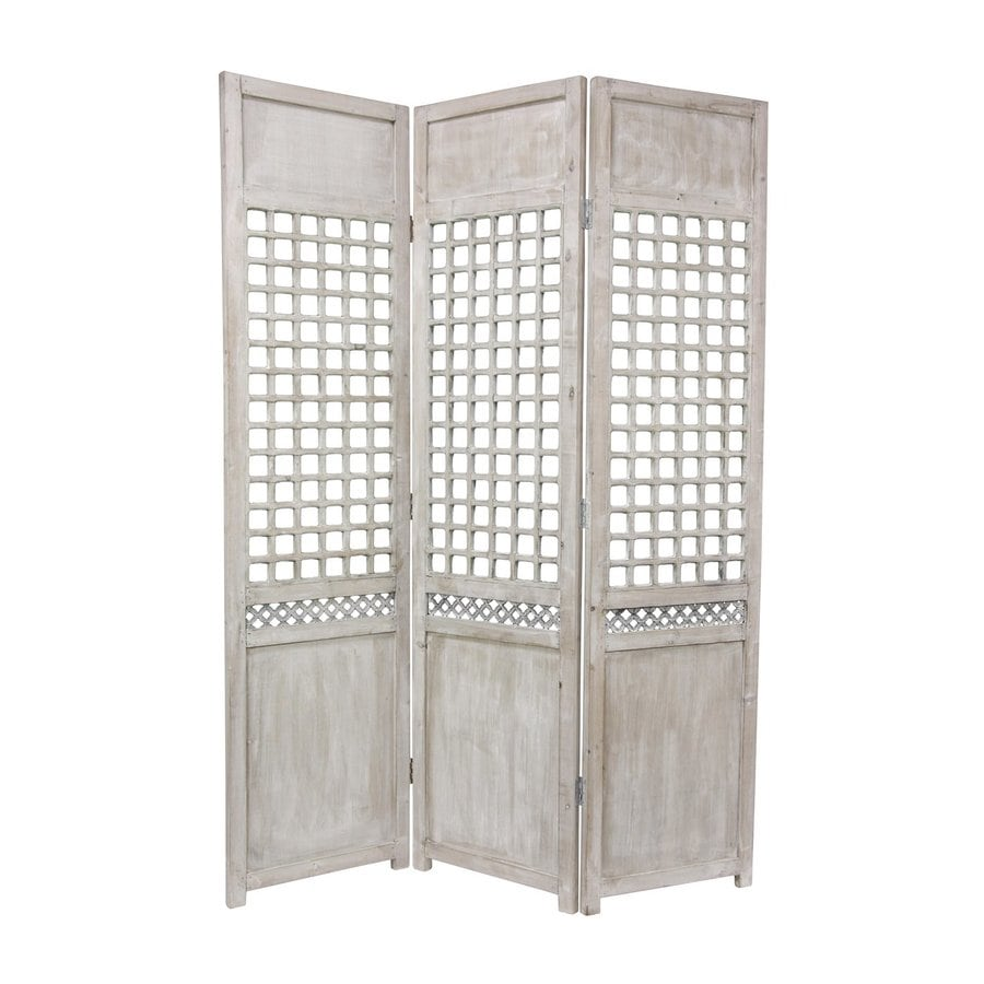 Oriental Furniture Open Latice 3-Panel Distressed Wood Wood Folding Indoor Privacy Screen