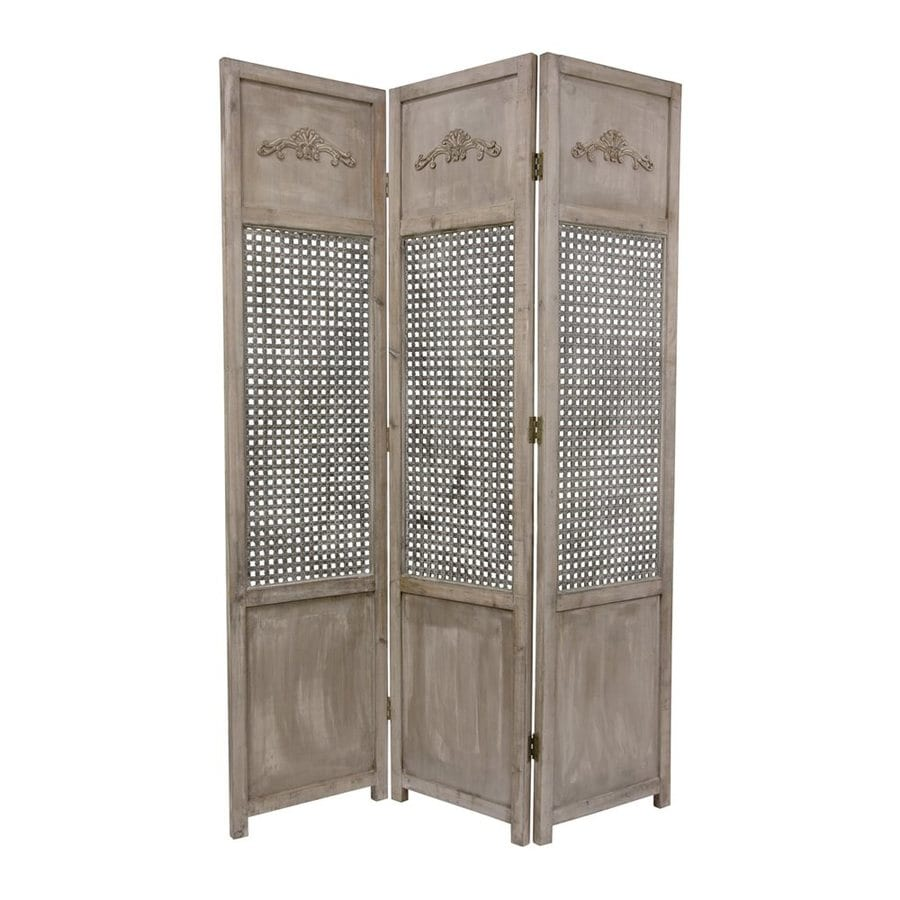Oriental Furniture Open Mesh 3-Panel Distressed Wood Wood Folding Indoor Privacy Screen