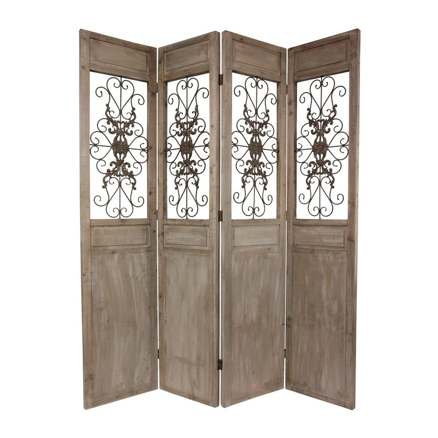 Oriental Furniture 4-Panel Brown Wood Folding Indoor Privacy Screen