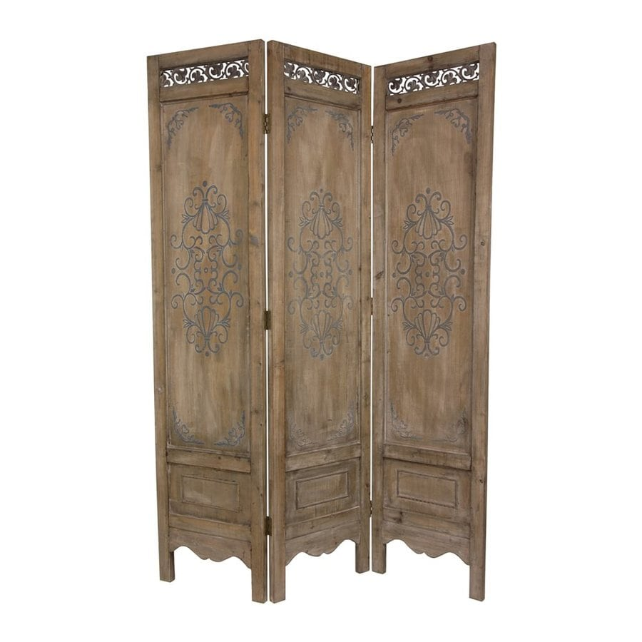Oriental Furniture Scrollwork 3-Panel Antique Distressed Wood Folding Indoor Privacy Screen