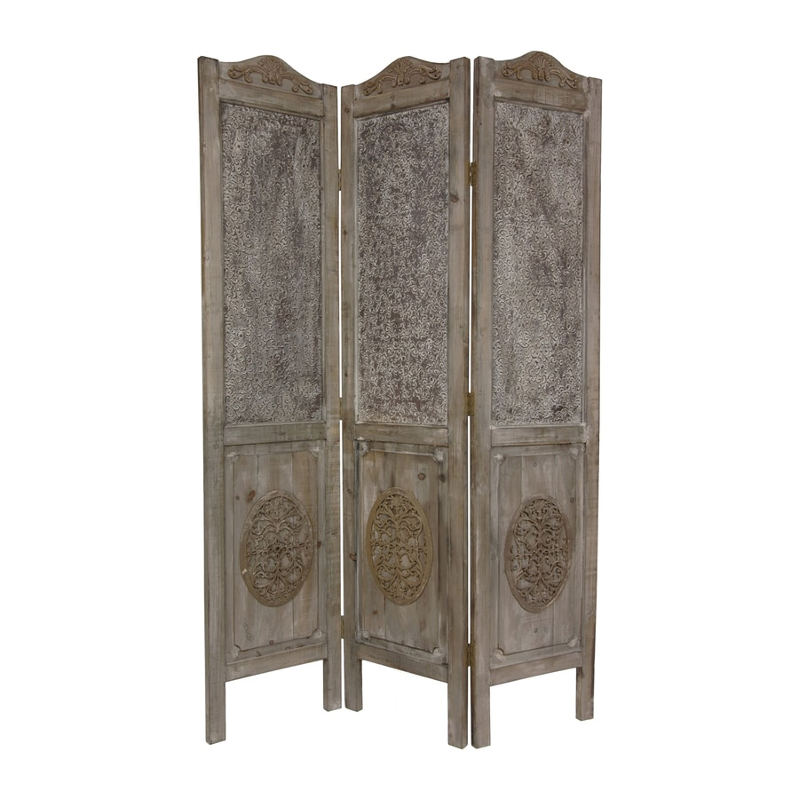 Shop Oriental Furniture 3-Panel Distressed Wood Wood Folding ...