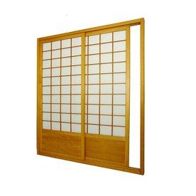 Oriental Furniture 2 Panel Honey Paper Sliding Indoor Privacy Screen
