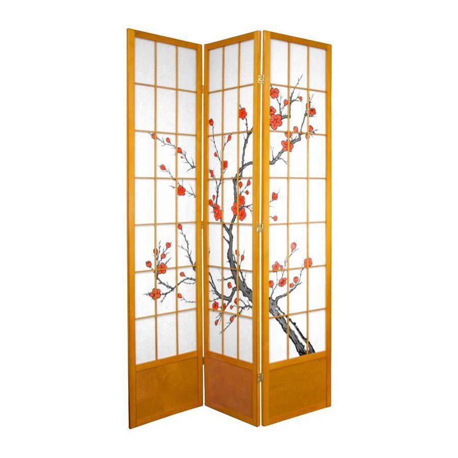 Oriental Furniture Cherry Blossom 3-Panel Honey Paper Folding Indoor Privacy Screen