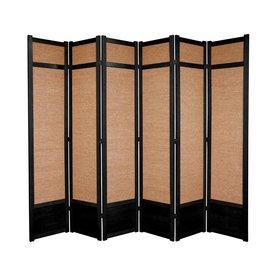 Oriental Furniture 6 Panel Black Fabric Folding Indoor Privacy Screen