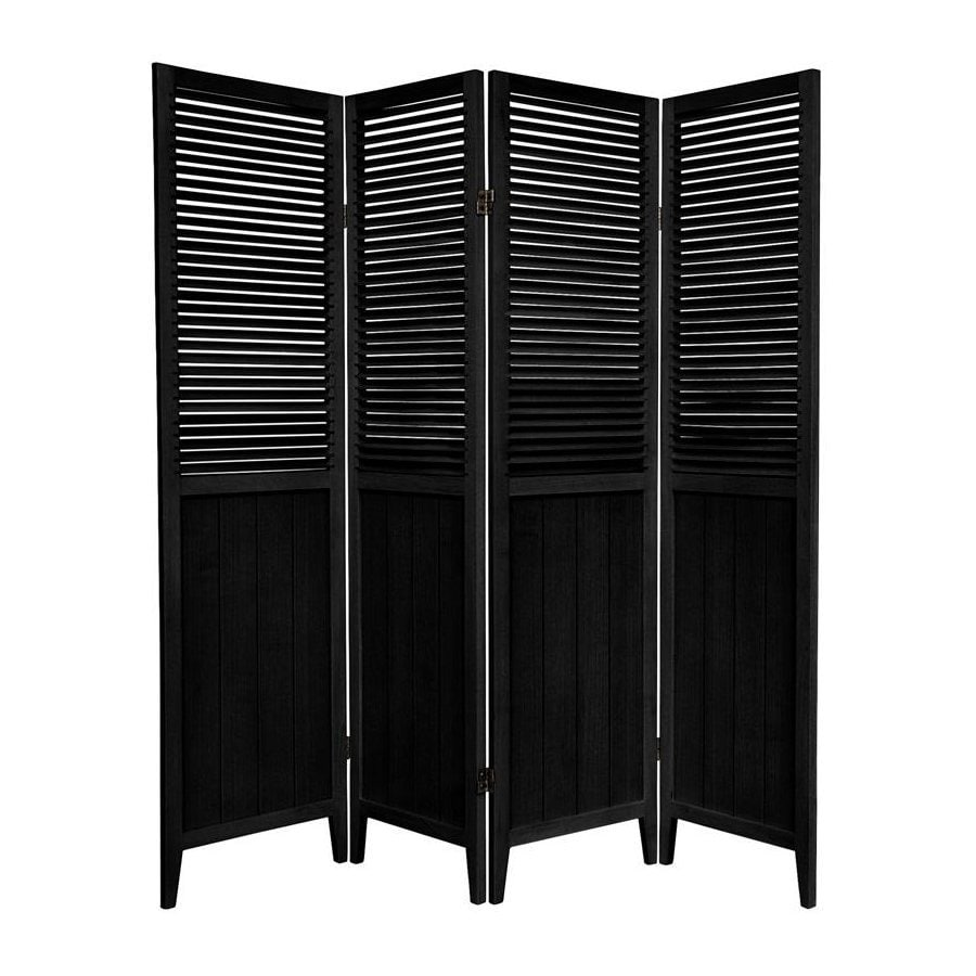 Shop oriental furniture beadboard 4 panel black wood for Wood privacy screen panels