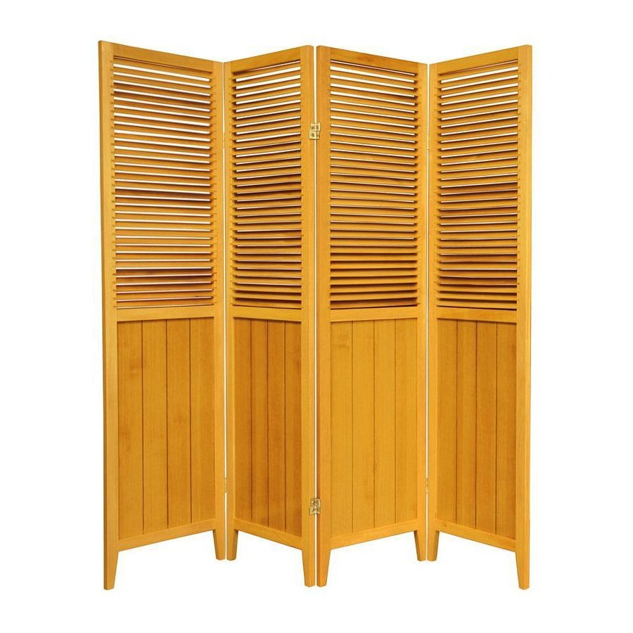 Oriental Furniture Beadboard 4-Panel Honey Wood Folding Indoor Privacy Screen