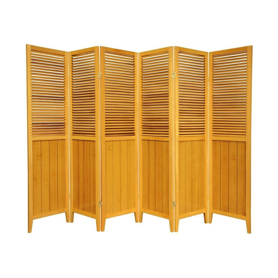 Shop oriental furniture beadboard 6 panel honey wood for Wood privacy screen panels