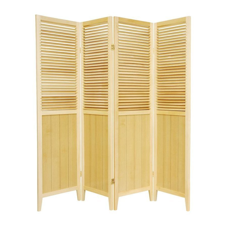 Oriental Furniture Beadboard 4-Panel Natural Wood Folding Indoor Privacy Screen
