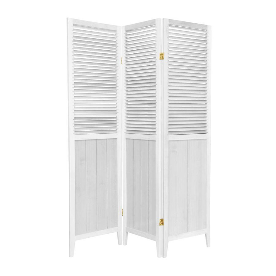 Oriental Furniture Beadboard 3-Panel White Wood Folding Indoor Privacy Screen