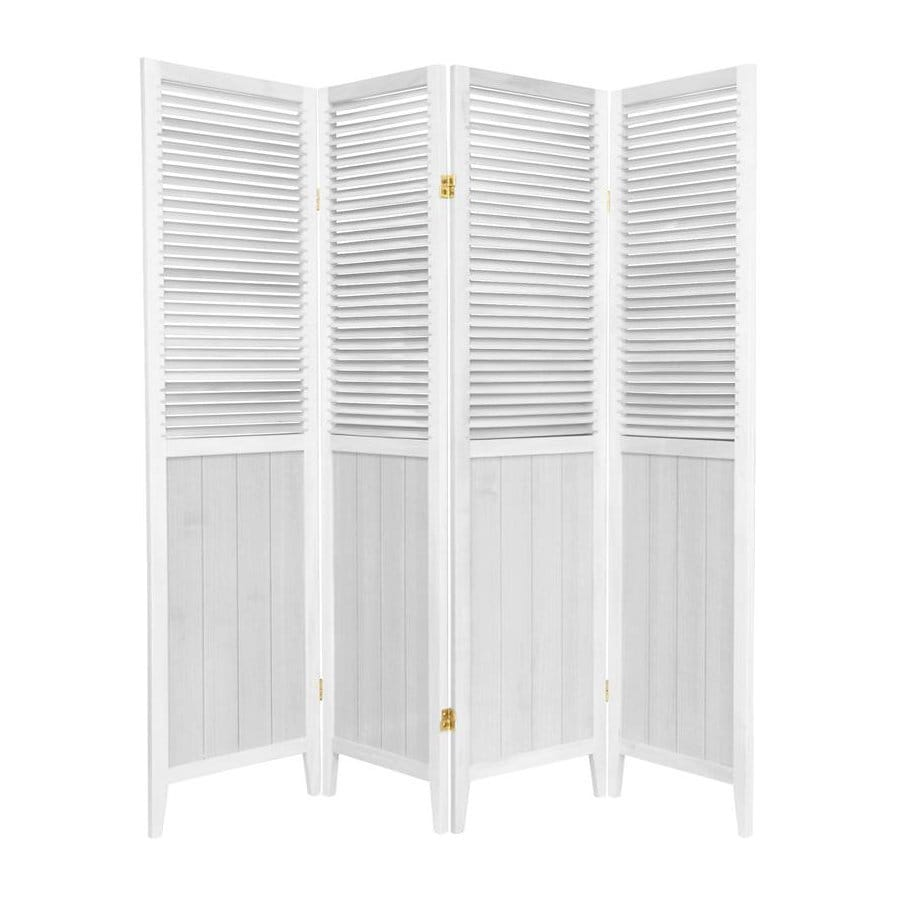 Oriental Furniture Beadboard 4 Panel White Wood Folding Indoor Privacy  Screen