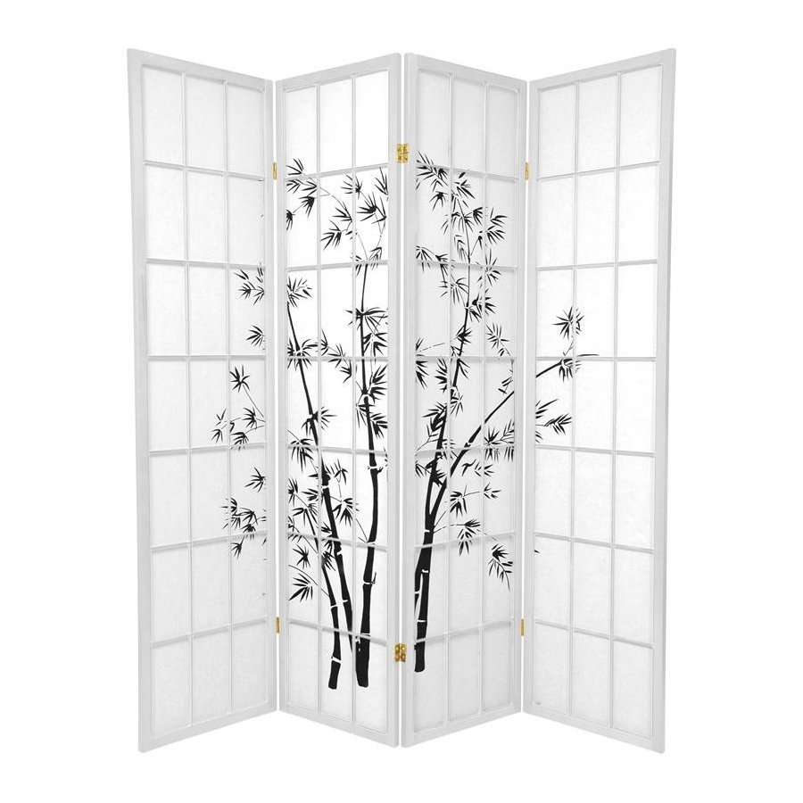 Oriental Furniture Lucky Bamboo 4-Panel White Paper Folding Indoor Privacy Screen
