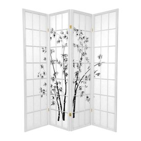 oriental furniture lucky bamboo 4panel white paper folding indoor privacy screen