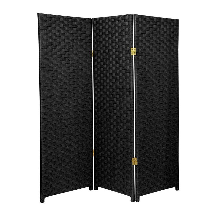 Oriental Furniture 3-Panel Black Woven Fiber Folding Indoor Privacy Screen
