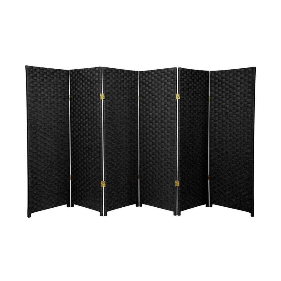 Oriental Furniture 6-Panel Black Wood and Rattan Folding Indoor Privacy Screen