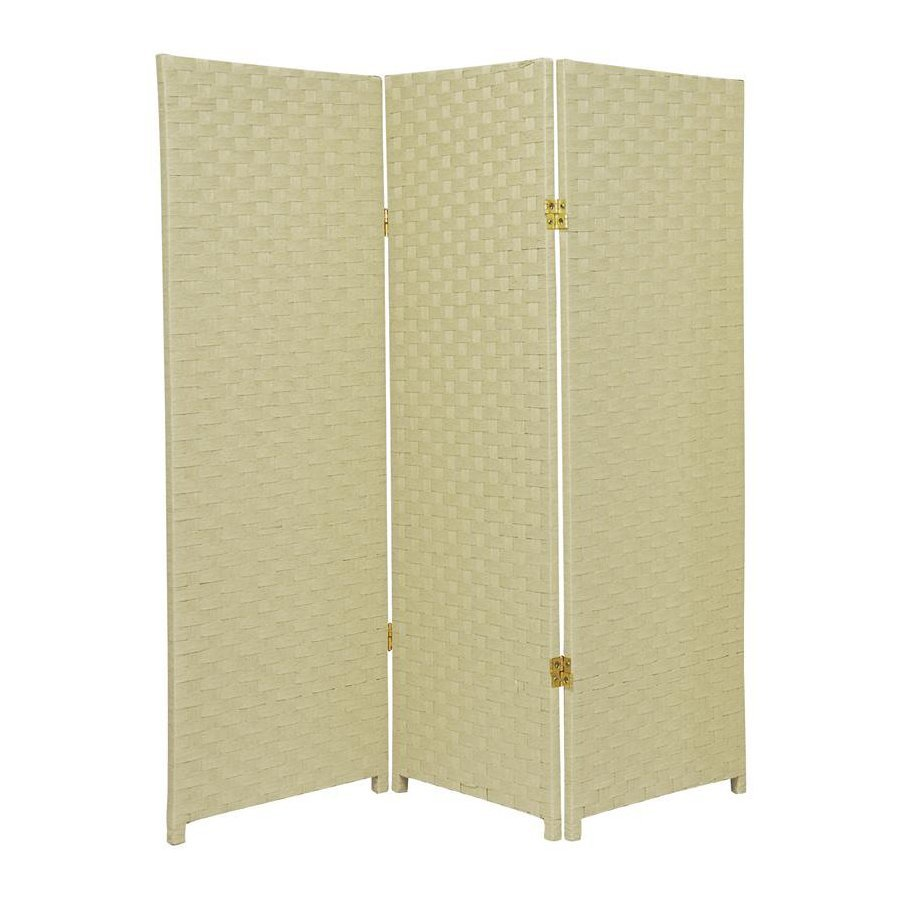 Oriental Furniture 3-Panel Cream Woven Fiber Folding Indoor Privacy Screen