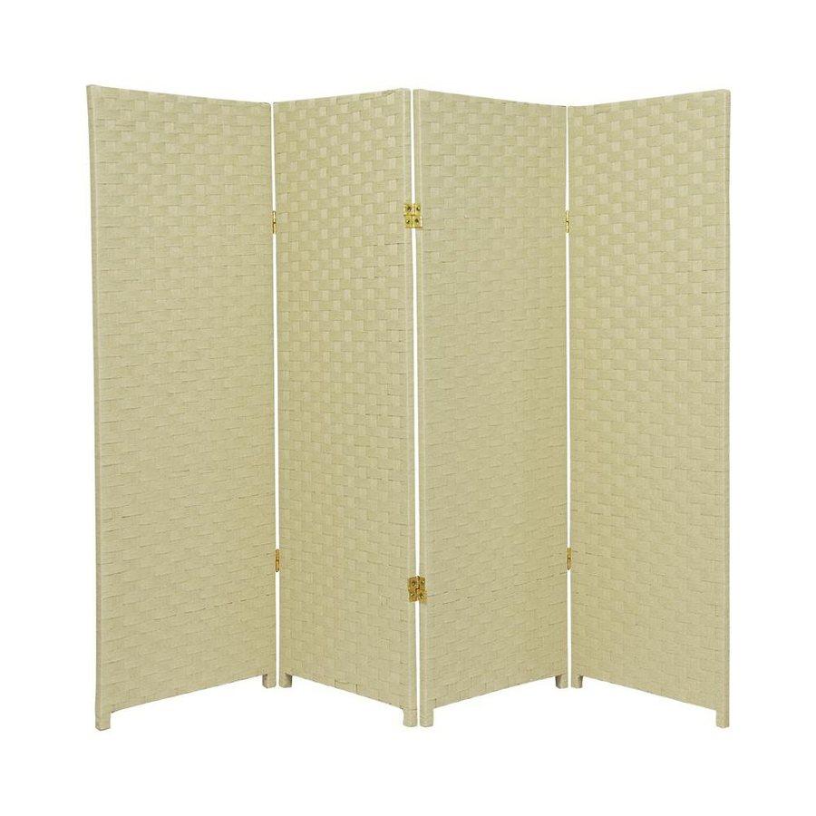 Oriental Furniture 4-Panel Cream Woven Fiber Folding Indoor Privacy Screen