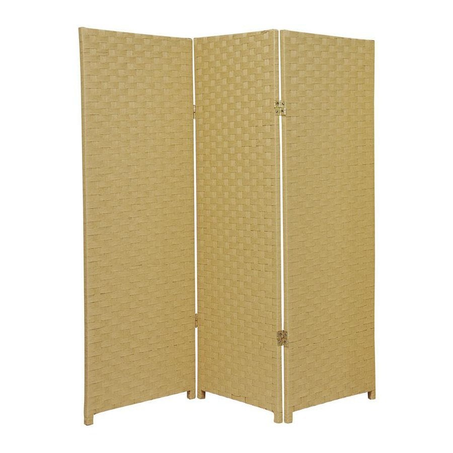 Oriental Furniture 3-Panel Dark Beige Woven Fiber Folding Indoor Privacy Screen