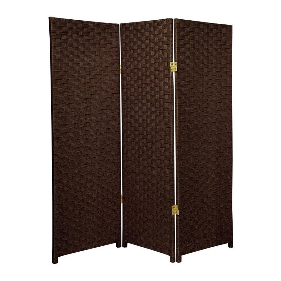 Oriental Furniture 3-Panel Dark Mocha Woven Fiber Folding Indoor Privacy Screen