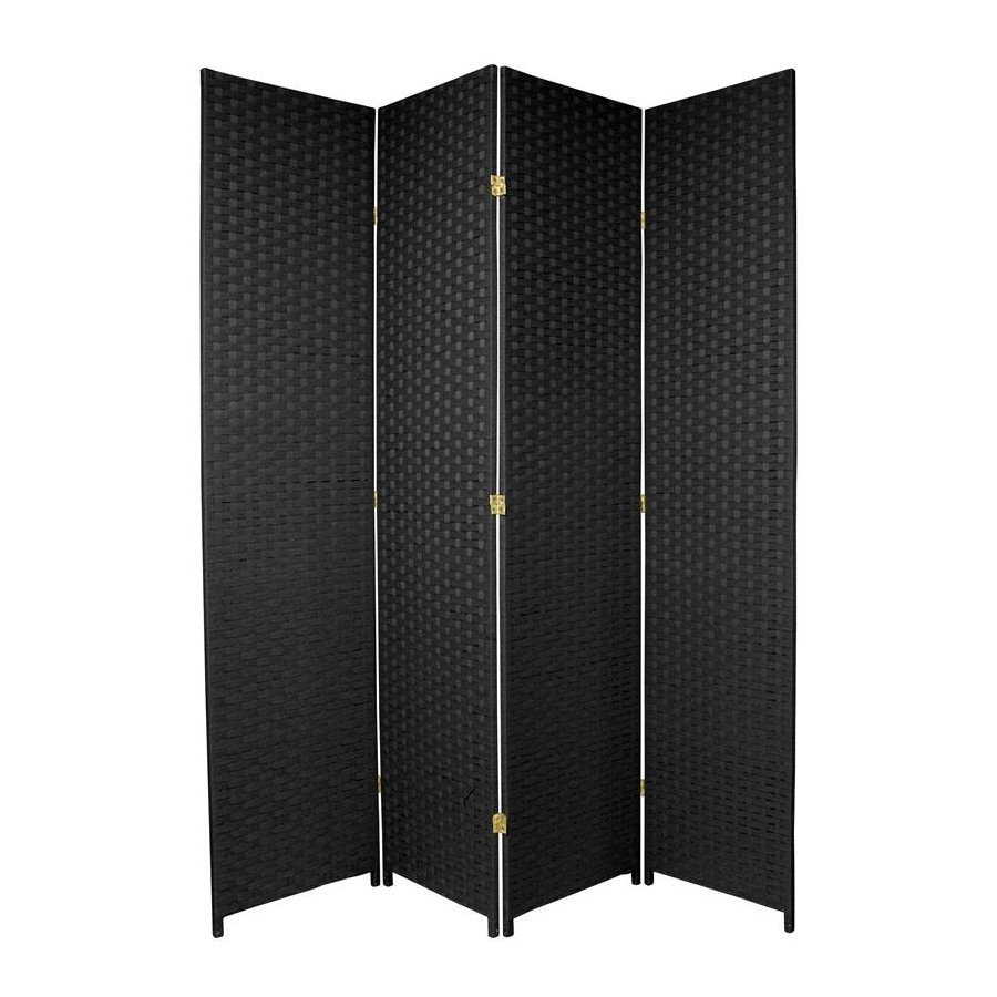 Oriental Furniture 4-Panel Black Woven Fiber Folding Indoor Privacy Screen