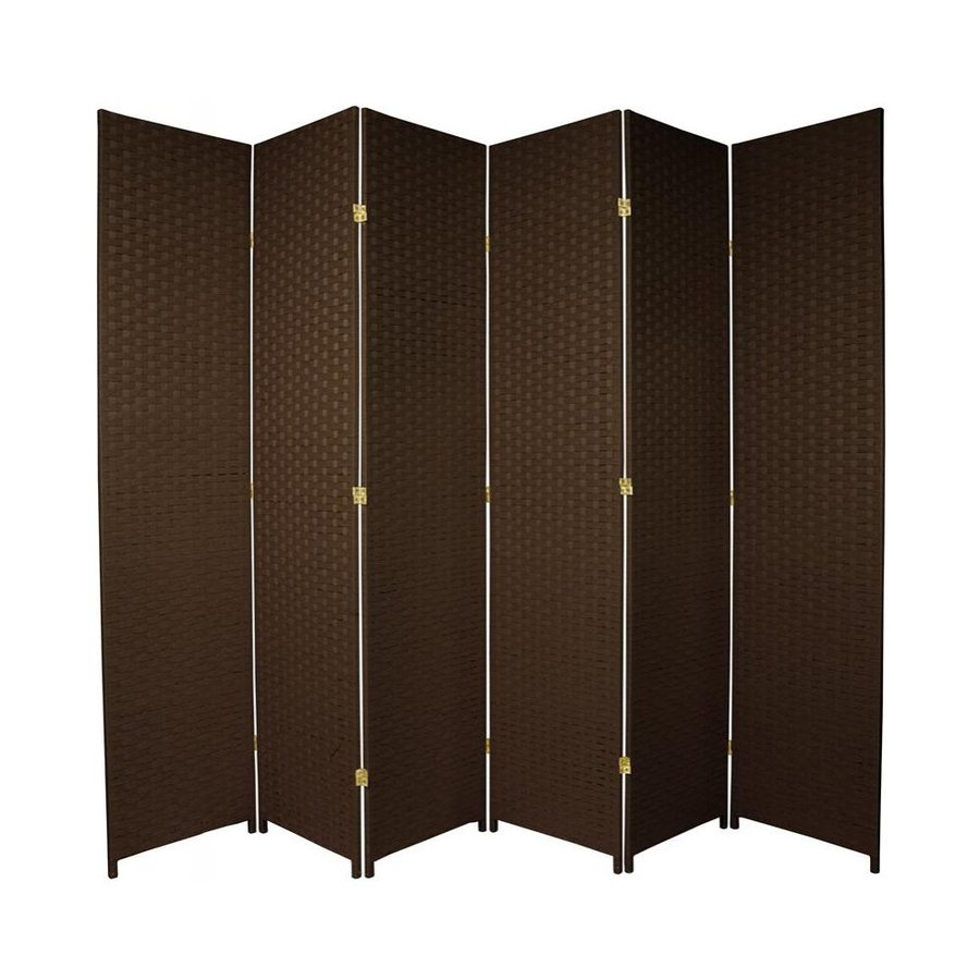 Oriental Furniture 6-Panel Dark Mocha Woven Fiber Folding Indoor Privacy Screen