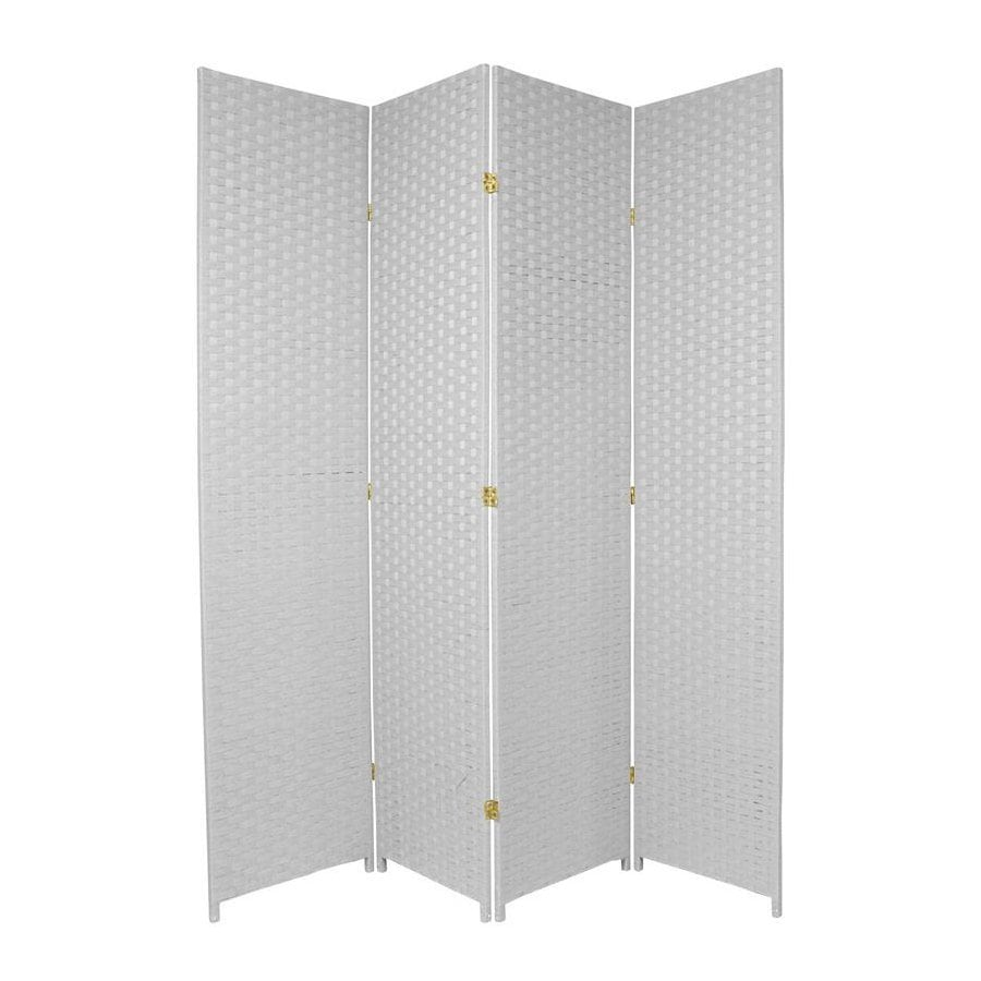 Oriental Furniture 4-Panel White Woven Fiber Folding Indoor Privacy Screen
