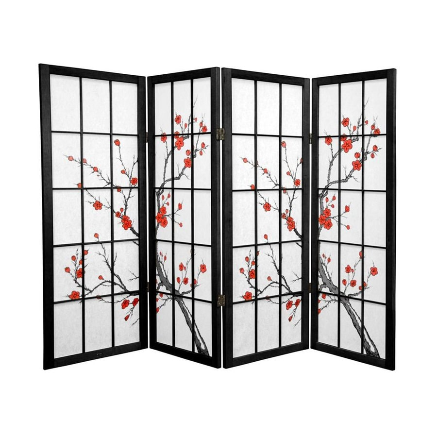 Oriental Furniture Cherry Blossom 4-Panel Black Paper Folding Indoor Privacy Screen