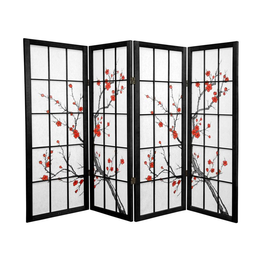 Oriental Furniture Cherry Blossom 4-Panel Black Wood and Paper Folding Indoor Privacy Screen