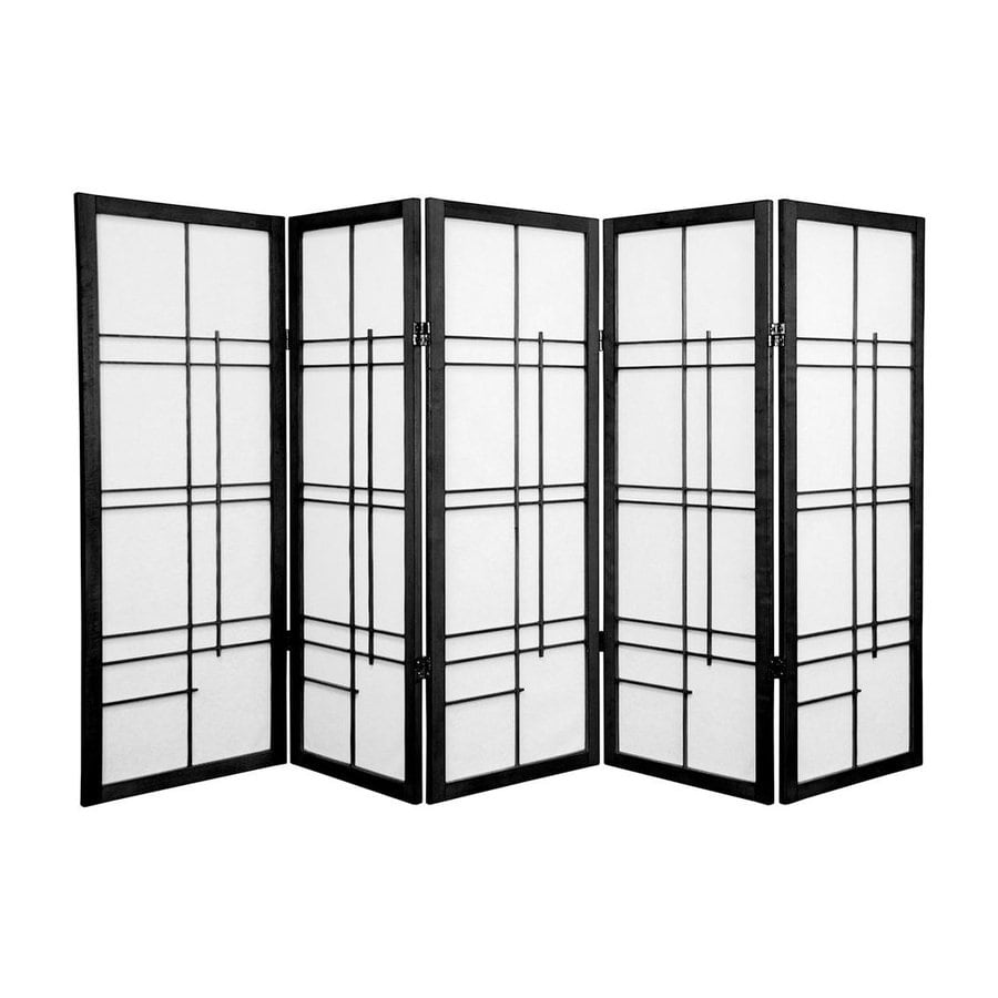 Shop oriental furniture eudes panel black wood and paper