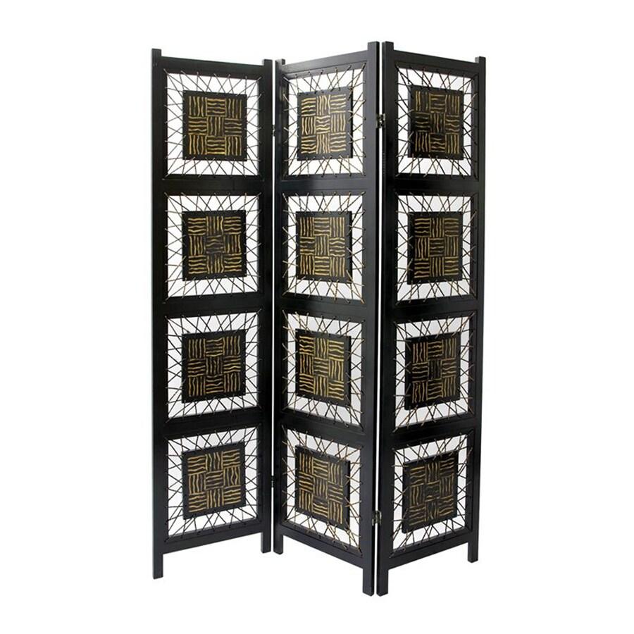 Shop Oriental Furniture Coco Twig 3 Panel Black Wood