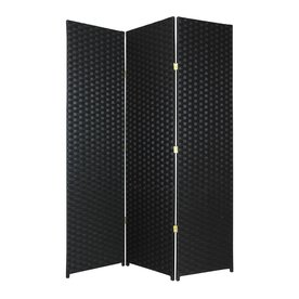 Oriental Furniture 3 Panel Black Rattan Folding Indoor Privacy Screen