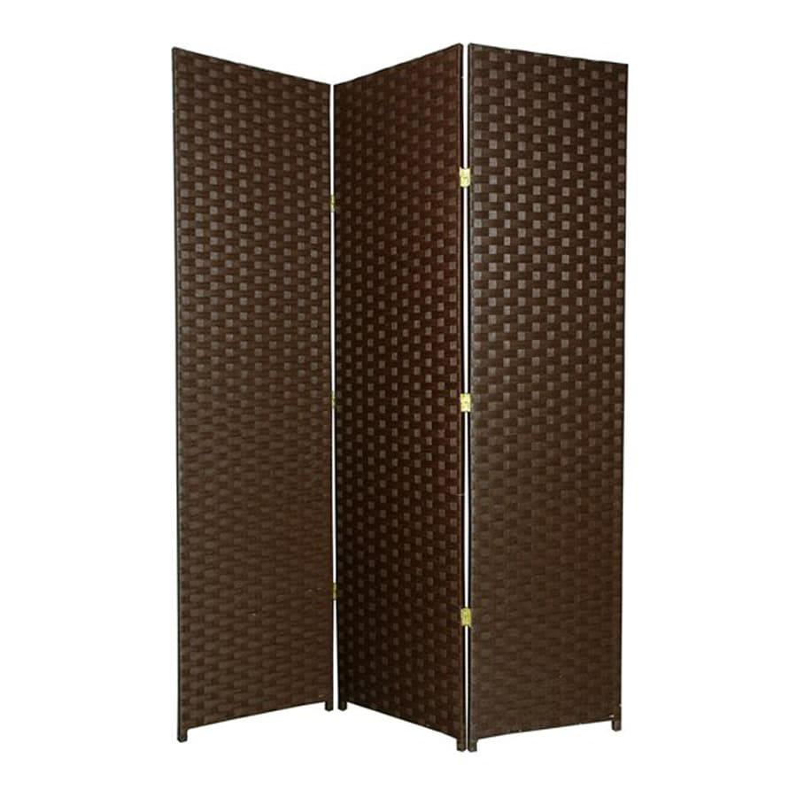 Oriental Furniture 3-Panel Dark Mocha Wood and Rattan Folding Indoor Privacy Screen