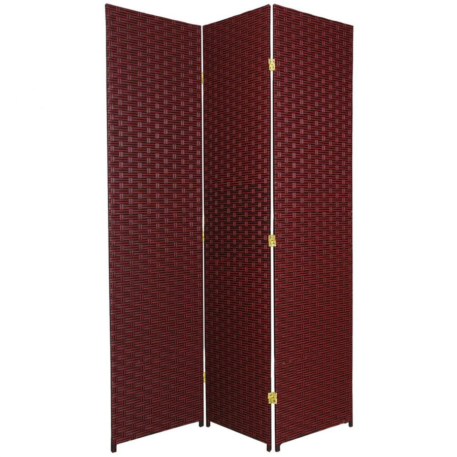 Oriental Furniture 3-Panel Red/Black Rattan Folding Indoor Privacy Screen