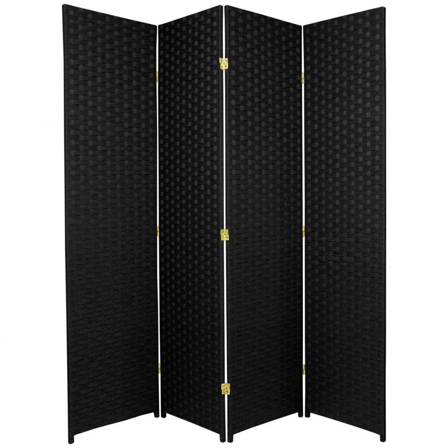 Oriental Furniture 4-Panel Black Rattan Folding Indoor Privacy Screen