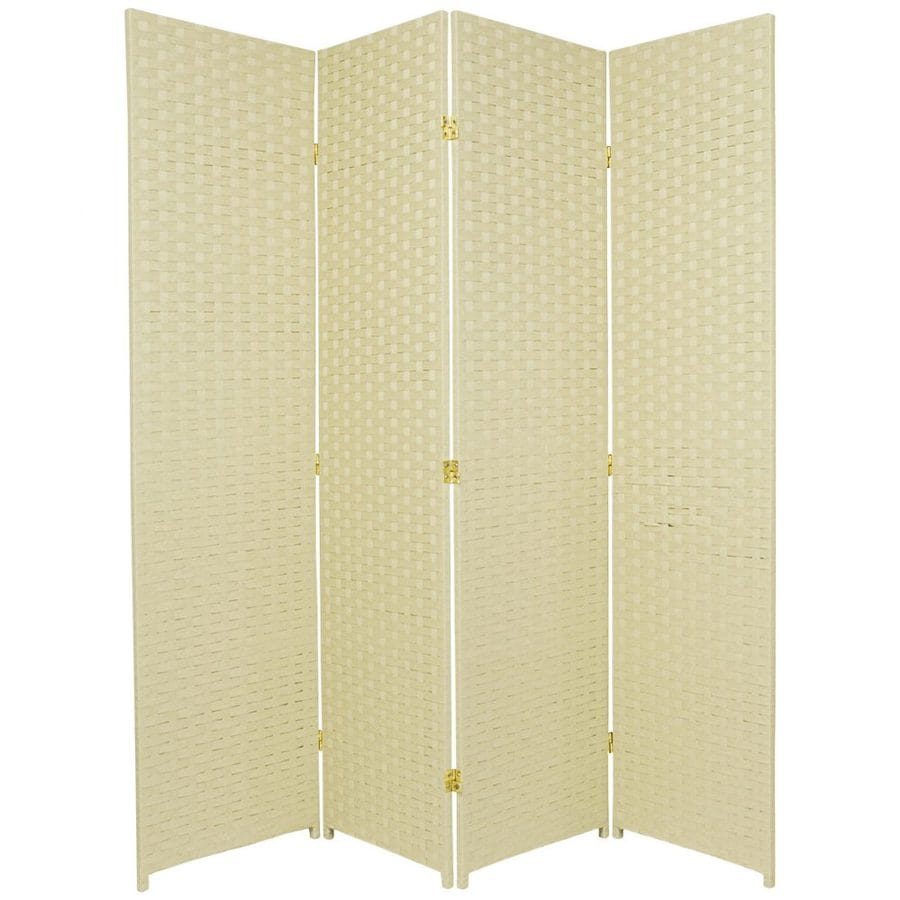 Oriental Furniture 4-Panel Cream Rattan Folding Indoor Privacy Screen