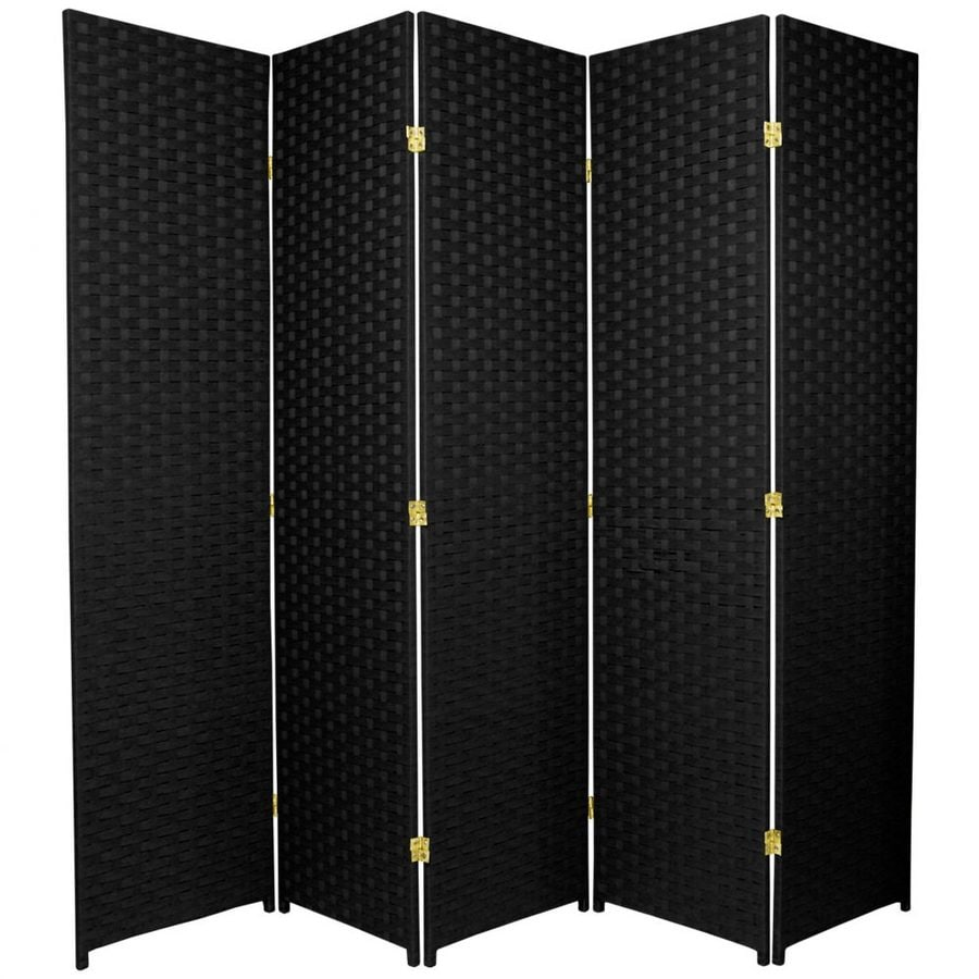 Oriental Furniture 5-Panel Black Wood and Rattan Folding Indoor Privacy Screen