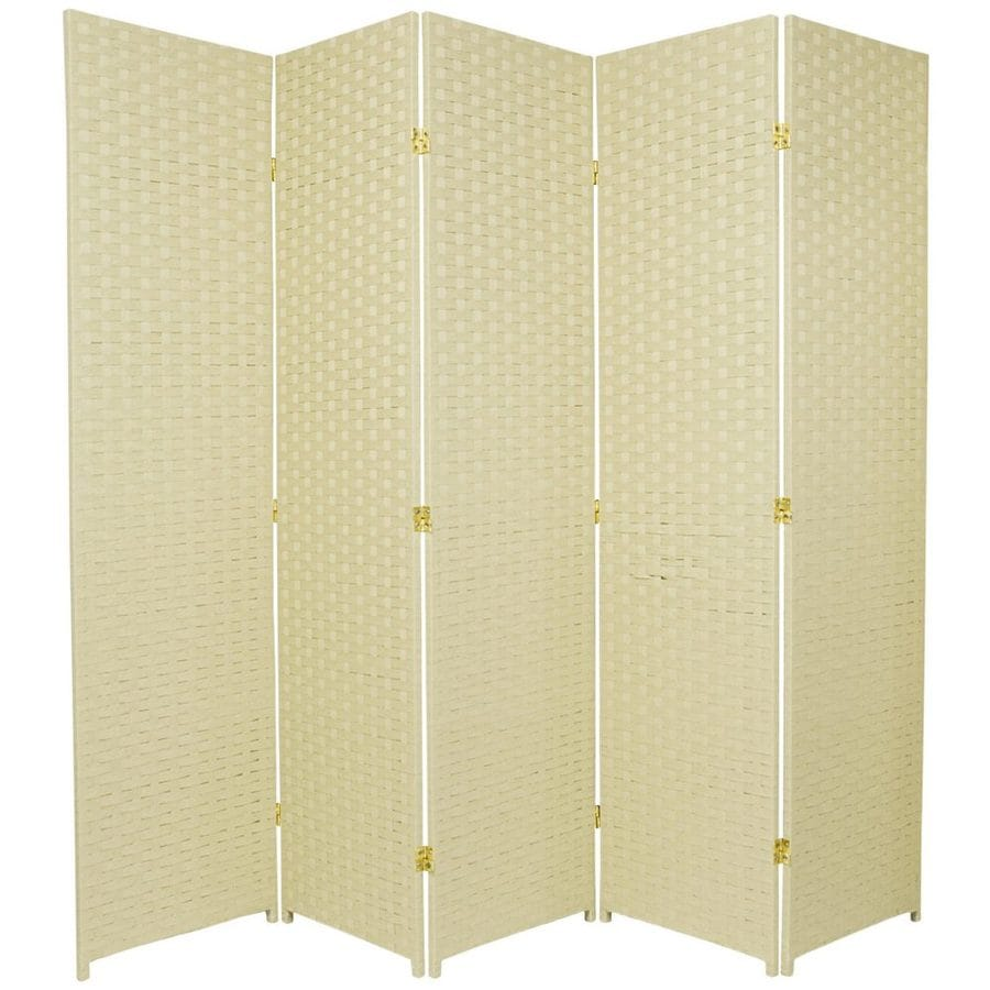 Oriental Furniture 5-Panel Cream Rattan Folding Indoor Privacy Screen