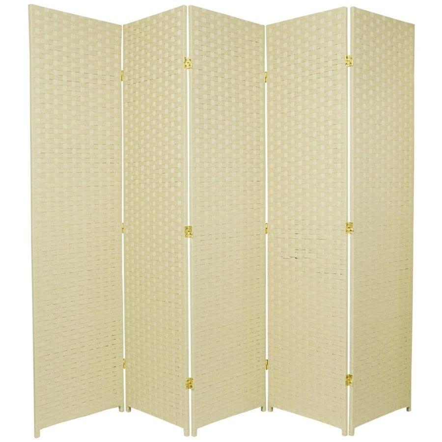 Oriental Furniture 5-Panel Cream Rattan Folding Indoor Privacy Screen