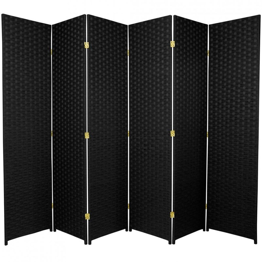 Oriental Furniture 6-Panel Black Rattan Folding Indoor Privacy Screen